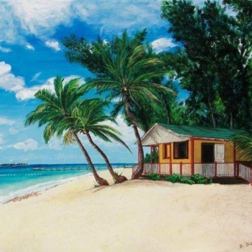 Une case sur une plage paradisiaque